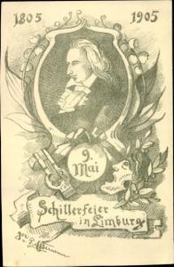 Künstler Ak Limburg an der Lahn, Schiller Feier in Limburg 9. Mai 1805 1905