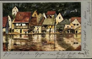 Künstler Ak Senger, C. v., Karthaus Konz an der Mosel, Uferpartie