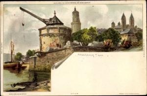 Künstler Ak Andernach Rhein, Kran, Flusspartie