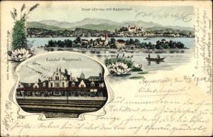 Ak Rapperswil Kt. St.Gallen Schweiz, Bahnhof, Gleisseite, Insel Ufenau, Ort