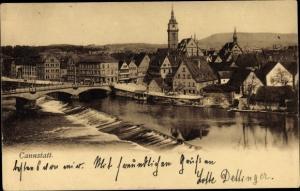 Ak Cannstatt Stuttgart in Baden Württemberg, Blick auf den Ort, Wehr, Brücke