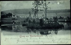 Mondschein Ak Reinhardsquelle Bad Wildungen in Nordhessen, Blick auf den Ort