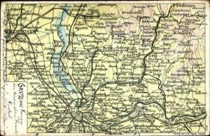 Landkarten Ak Basel Schweiz, Rheinfelden, Lörrach, Wehr, Schopfheim, Todtnau