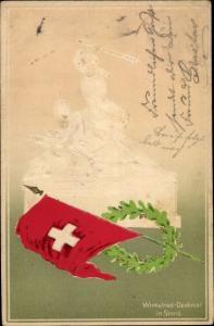 Präge Litho Stans Kt. Nidwalden Schweiz, Winkelried Denkmal, Fahne