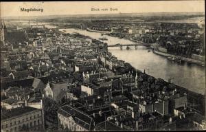 Ak Magdeburg in Sachsen Anhalt, Blick vom Dom auf die Stadt