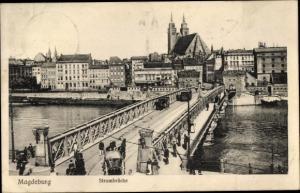 Ak Magdeburg in Sachsen Anhalt, Strombrücke, Straßenbahn, Stadtbild