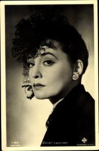 Ak Schauspielerin Zarah Leander, Portrait mit Hut