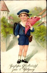 Ak Glückwunsch Einschulung, Junge in Matrosenanzug mit Zuckertüte