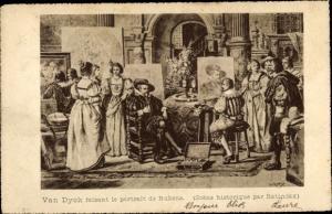 Künstler Ak Van Dyck faisant le portrait de Rubens