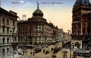 Ak Budapest Ungarn, Blick in die Rakoczistraße, Straßenbahn
