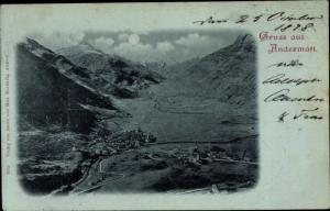 Mondschein Ak Andermatt Kanton Uri, Panorama, Berge