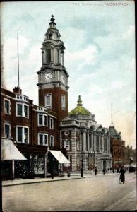 Ak Greenwich London City, Woolwich Town Hall