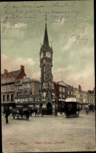 Ak Leicester East Midlands England, Clock Tower