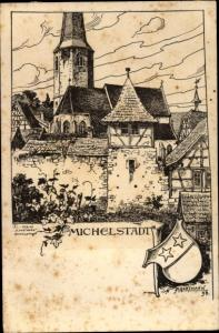 Künstler Ak Michelstadt im Odenwald, Ortsansicht, Wappen
