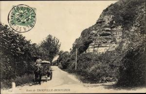 Ak Honfleur Calvados, Route de Trouville Honfleur, caleche