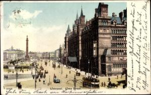 Ak Liverpool North West England, Lime Street, tramway
