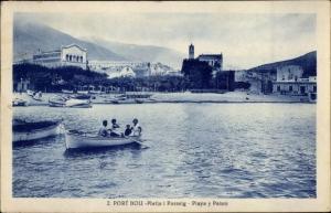 Ak Portbou Katalonien, Playa y Paseo, Ruderpartie