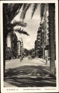 Ak Alicante Valencia Spanien, Avenida Mendez Nunez
