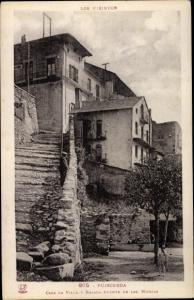 Ak Puigcerda Katalonien, Casa La Villa y bajada fuente de las Monjas