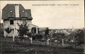 Ak Montigny Devant Sassey Meuse, Route de Mont, Vue generale