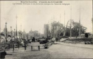 Ak Bruxelles Brüssel, Exposition 1910, Incendie, Grande Terrasse, Palais de Belgique