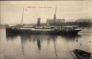 Ak Málaga Andalusien Spanien, El Puerto, Dampfer