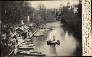 Ak Braunschweig in Niedersachsen, Okerpartie am Monumentsplatz, Bootshafen