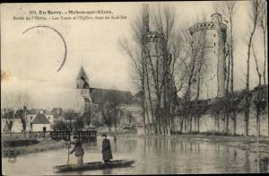 Ak Mehun sur Yevre CherBords de l'Yevre, Tours et l'Eglise, Ruderboot