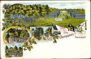 Litho Darmstadt in Hessen, Truppenübungsplatz, Dampfstraßenbahn, Parolehütte