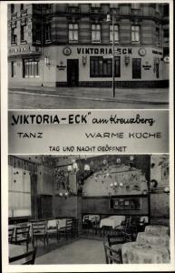 Ak Berlin Kreuzberg, Restaurant Viktoria Eck, Innen und Außen