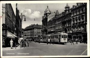 Ak Chemnitz Sachsen, Johannesplatz, Straßenbahn Linie 5
