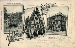 Ak Chemnitz Sachsen, Brunnen, Holzmarkt, Jacobikirche, Börse