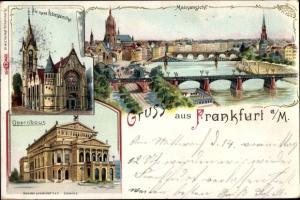 Litho Frankfurt am Main, Stadion, Neue Peterskirche, Mainansicht, Opernhaus