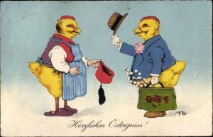 Künstler Ak Glückwunsch Ostern, Vermenschlichte Küken, Weidenkätzchen