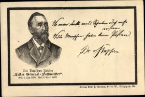 Künstler Ak Erster Generalpostmeister Heinrich von Stephan, Trauerkarte