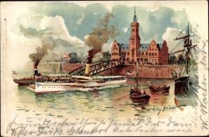 Künstler Litho Stöwer, Willy, Dampfschiff, Stadtansicht