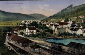 Ak Scheidt Saarbrücken im Saarland, Bahnhof, Panorama vom Ort