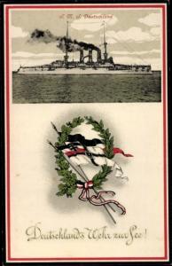Passepartout Ak Kriegsschiff SMS Deutschland, Deutschlands Wehr zur See