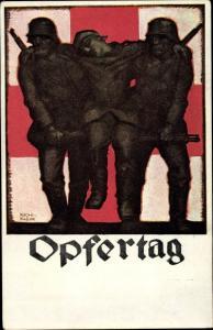 Künstler Ak Klein, Richard, Opfertag 1917, DRK, Abtransport eines verwundeten Soldaten