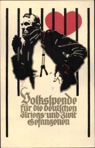 Ak Volksspende für die deutschen Kriegs und Zivilgefangenen 1916