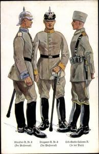 Ak Deutsche Soldaten, Kürassier Regiment 6, Dragoner Regiment 8, Leib Garde Husaren Regiment