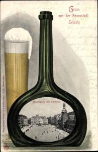 Passepartout Ak Leipzig in Sachsen, Weinflasche, Bierglas, Marktplatz mit Rathaus