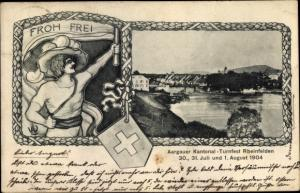 Passepartout Ak Rheinfelden Kt. Aargau Schweiz, Kantonal Turnfest 1904, Blick auf den Ort