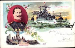 Litho Deutsches Kriegsschiff, SMS Brandenburg, Panzerschiff, Kyffhäuser Denkmal, Kaiser Wilhelm II