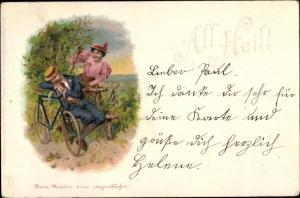 Litho All Heil, schlafender Mann, Frau, Fahrrad, Radfahrer