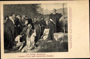 Ak Erfurt in Thüringen, Der heilige Bonifacius bekehrt Erfurt zum christlichen Glauben, P. Jansen