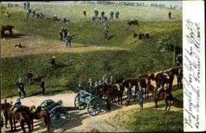 Ak Manöver deutscher Soldaten, Pferde ziehen Geschütze