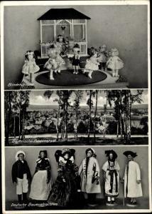 Ak Deutsches Puppenmuseum Neustadt bei Coburg, Blindekuhspiel, Bauerntrachten, Puppenstadt