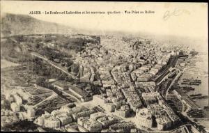 Ak Algier Alger Algerien, Le Boulevard Laferrère et les nouveaux quartiers, Vue prise en ballon