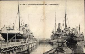 Ak Algier Alger Algerien, Ponton d'embarquement des Transatlantiques